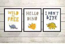 3 Baby Dinosaur A4 Print Pictures- - Gift - Nursery Wall Art Decor -UNFRAMED-