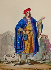 1812 FASHION COSTUME PRINT HAND COLOURED 1450 KING HENRY VI VISCOUNT BEAUMONT