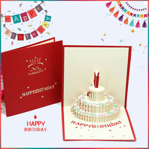 5x3D Birthday Card Pop Up Beautiful Paper Cut Friend Daughter Sister Brother Use
