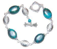PEACOCK Jasper (Chrysocolla) & Tibetan Silver Bead Bracelet ~ toggle clasp