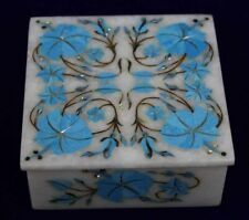 Turquoise Inlay Box Jewelry Handmade Art Deco Storage Floral Motifs Design