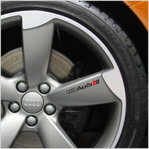 4pcs Audi Decal Sticker Wheels Rims Logo Emblem BLACK A3 A4 A5 A6 A7 A8 S4 S5 S6
