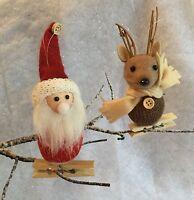 Clip On Reindeer Santa Decoration Gisela Graham Peg Vintage Tree Christmas