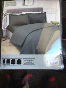 Sleep down essential microfibres sateen stripe King Size charcoal unopened