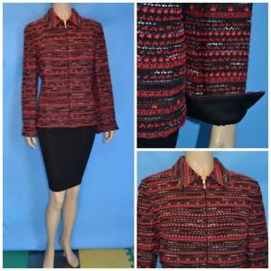 ST. JOHN Red Black Jacket L 10 12 Blazer Zipper Silk Lining Multicolor