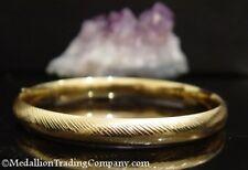 "14K Eterna Gold 8.5mm Chevron Stripe Etched Hinged Oval Bangle Bracelet Large 8"""