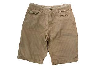 "PrAna Bronson Size 33 Beige Cotton Stretch Canvas Striped 11"" Shorts W/ Pockets"