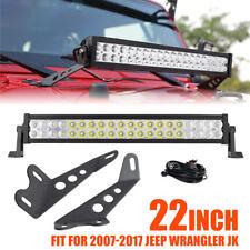 """22"""" 280W CREE LED Light Bar+Mount Bracket Fit For 2007-2017 Jeep Wrangler JK/JKU"""
