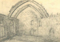 Mary Anne Baignis - c. 1825 Graphite Drawing, Church Ruins