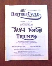 British Cycle Supply Shop Service Parts Catalog Manual Used 1 Qty Free Shipping