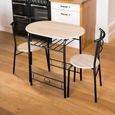 Compact 2 Seater Dining Chairs & Table Round Space Saving Wooden Base Black