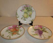 (3) Rosenthal R.C. Kronach Germany Porcelain Plates Fruit Grapes Apples Peaches