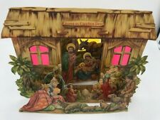 * Vintage die cut fold out nativity scene Christmas Decorations Ephemera *
