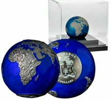 Barbados 2021 3 Oz Silver BLUE MARBLE AT NIGHT SPHERICAL EARTH $5 Coin