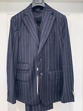 New Corneliani Three Piece Blue Pinstripe Suit Size 50 Virgin Wool