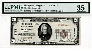 $20 1929T1 National HAMPTON Virginia VA Extremely Rare Only 6 on Census! PMG 35