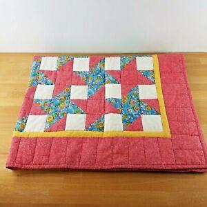 """Handmade Bee & Sunflower Star Baby Crib Lap Quilt 41 X 52"""""""