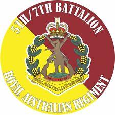 5TH/7TH BATTALION ROYAL AUSTRALIAN REGIMENT LAMINATED VINYL STICKER 100MM DIA