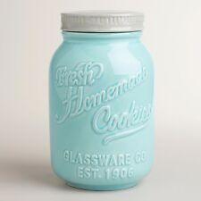 Mason Jar Ceramic Cookie Jar Aqua Blue Retro Chic Vintage Airtight 9 Inches New