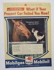Original Print Ad 1944 MOBILGAS Mobil Horse Cat Horsepower