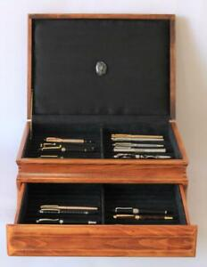 #833 CUSTOM BUILT SOLID MAHOGANY FOUNTAIN PEN STORAGE DISPLAY CHEST HAND CRAFTED