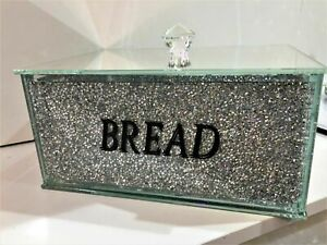 Bling Medium Silver Crushed Diamond Bread Bin Crystal Mirrored Kitchen Container