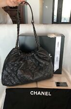 AUTHENTIC**CHANEL BLACK GOLD QUILTED CAVIAR HANDBAG