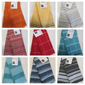 "New 2-PK KitchenAid Cotton Terry Kitchen Towels Gray w Black Gray Stripe 16/""x28/"""