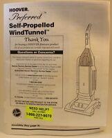 Hoover Preferred Self Propelled Windtunnel Vacuum Cleaner Manual