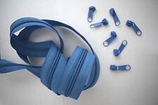 (0,60€/m) 3m Endlos Reißverschluss Meterware 5mm Spirale inkl.6 Zipper Blau