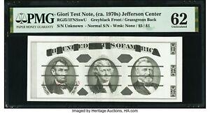 1970's Giori Press Jefferson Center Test Note RGJ5/1FNSswU PMG Unc 62