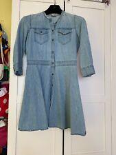 GAP Medium Wash DENIM 3/4 Sleeve  FLARE DRESS 4 P