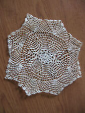 vintage cream colored hand crocheted crochet dainty doilie 8""