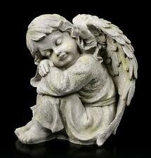 Engel Gartenfigur - Kind schlafend links - Fantasy Cherub Schutzengel Gartendeko