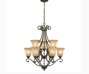 Vintage Tan Frosted Glass Chandelier Shades, Big, Heavy and Thick