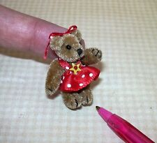 "Miniature Brown Velvet Bear ""DOT"", Red Polka Dot Dress and Bow: DOLLHOUSE 1/12"