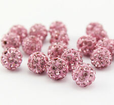 Wholesale 100 Pcs Cz Crystal Shamballa Beads Pave Disco Balls Pink Color 10MM
