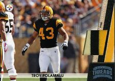 TROY POLAMALU ( 3 - COLOR ) # 01 / 75 GAME - WORN STEELERS WR PRIME JERSEY CARD
