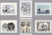 6 Assorted Keeshond Dog Blank Art Note Greeting Cards