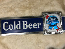 Vintage Pabst Blue Ribbon Pbr Cold Beer Store Display Ad Sign 1960's Fast Ship