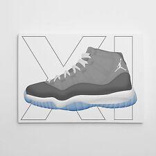 Nike Air Jordan Cool Grey 11's Gallery Art Canvas 11in x 14in