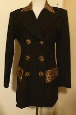 NEW TAKE SIX BLACK WOOL Blazer Jacket with Animal Print Size 4