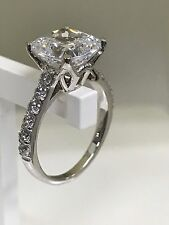 4 CT Cushion Cut Delicated Diamond Solitaire Engagement Ring 14K White Gold Over