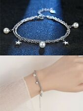 Stunning Star Pearl Charm Linked Bracelet 925 Sterling Silver Womens Jewellery