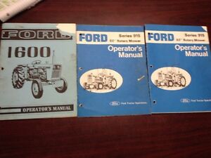 "FORD 1600 TRACTOR OPERATOR'S MANUAL + (2) Series 915 60"" Rotary Mower Manual"