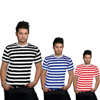 MEN'S T-SHIRTS STRIPED TOP BLACK BLUE RED AND WHITE FANCY DRESS SHORT SLEEVE