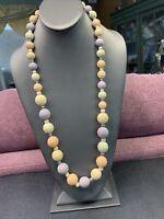 "Vintage Bohemian Blush Pastel Wood Beaded Necklace Long Sweater Length 30"""
