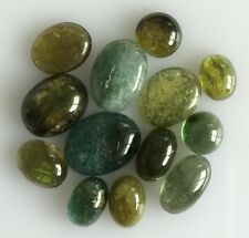 14.49 CT 13 PC NATURAL TOURMALINE GREEN LOT OVAL LOOSE GEM CABOCHON FREE SIZE