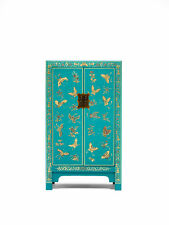 Premium Ming Dynasty 2 Door Storage Cabinet Unit Solid Wood Blue Gold Leaf