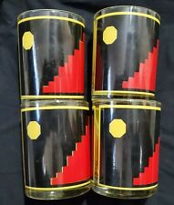 4 Georges Briard Signed Black Red & Yellow Lowball Glasses Mid Century Barware